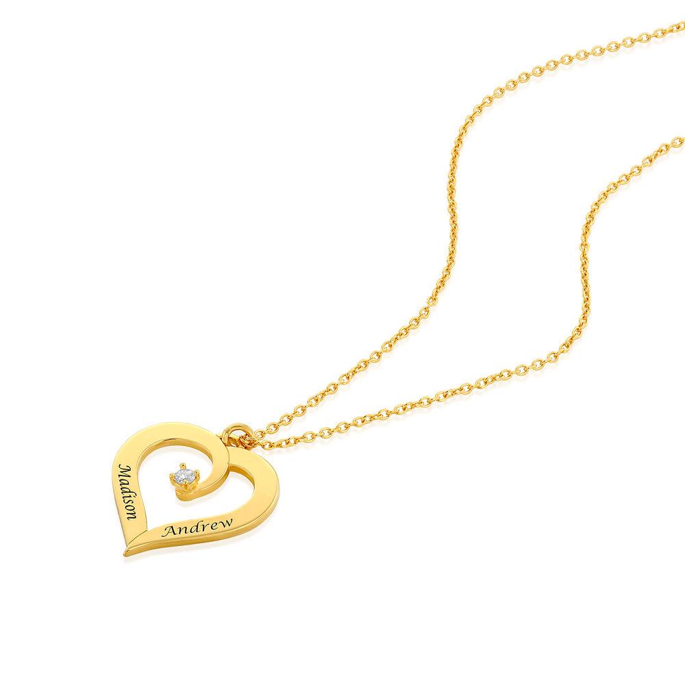 Diamant hjertehalskjede i gull vermeil - 1