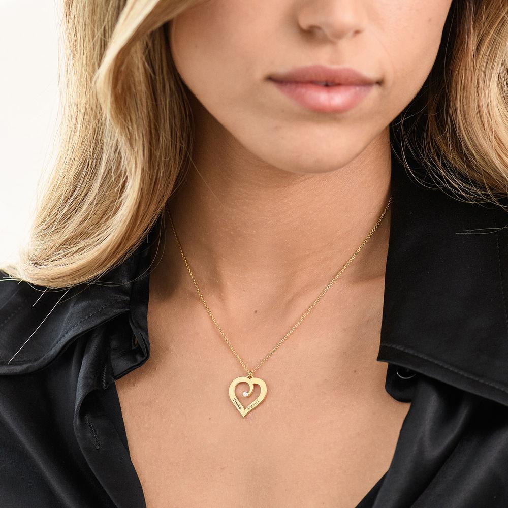 Diamant hjertehalskjede i gull vermeil - 2