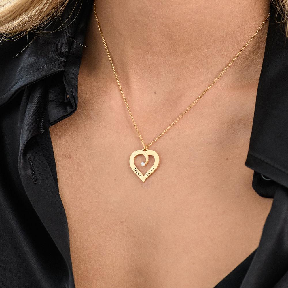 Diamant hjertehalskjede i gull vermeil - 3