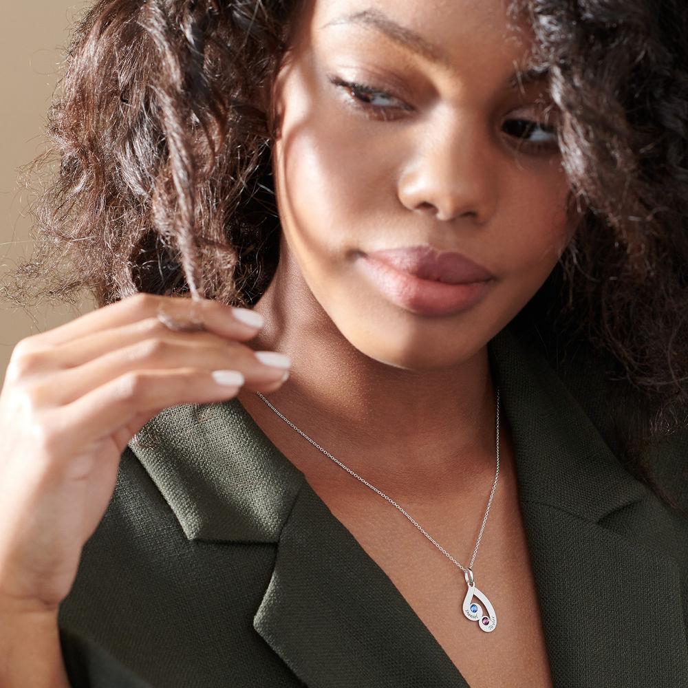 Familie månestein smykke halskjed med gravring - 5