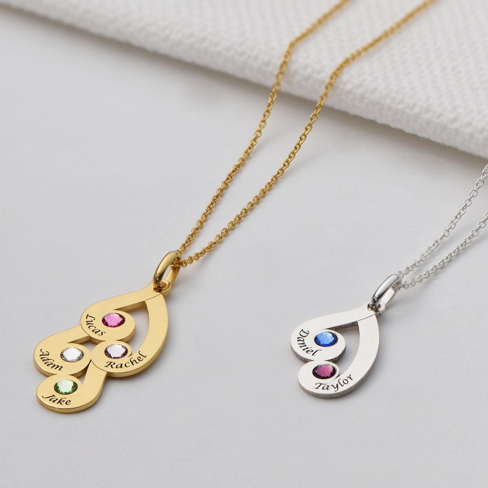 Familie månestein smykke halskjed med gravring gullbelagt - 2