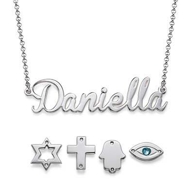 Navnesmykke i sølv med charm - 2