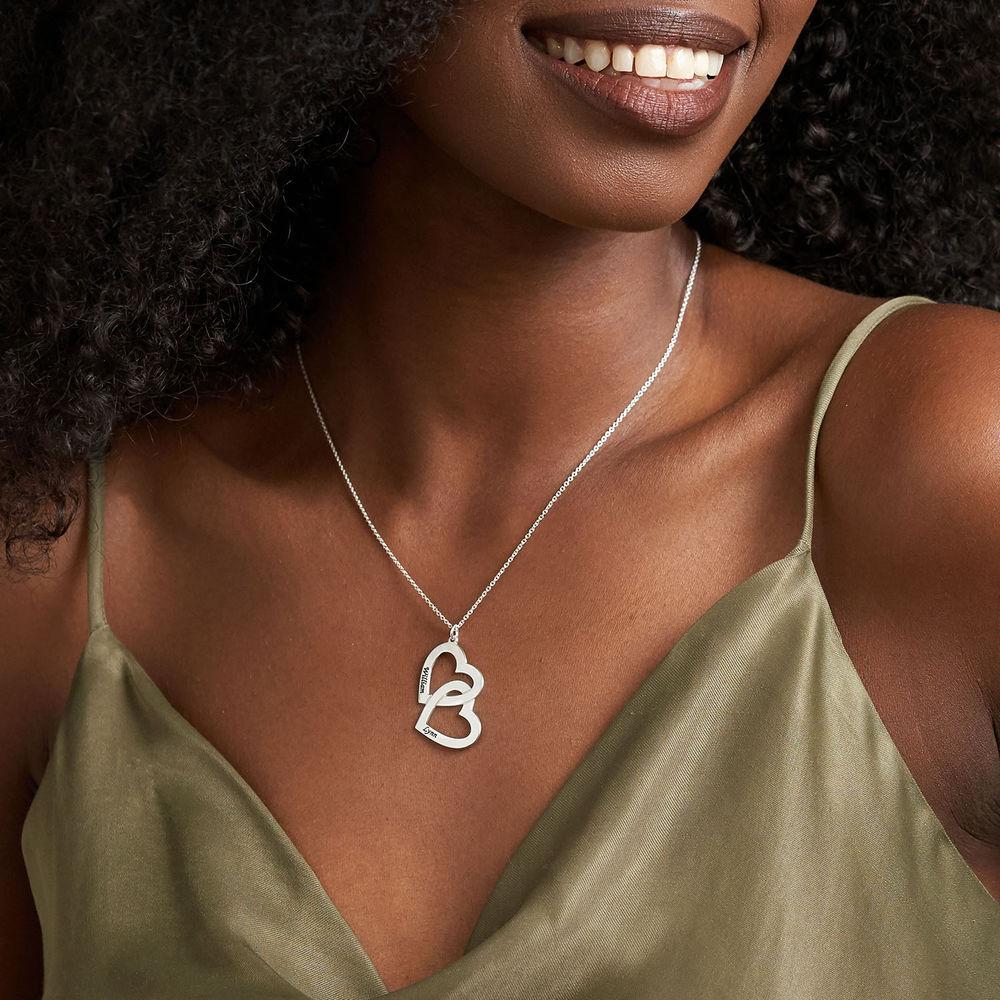 Halskjede i sølv med dobbelthjerte - 2
