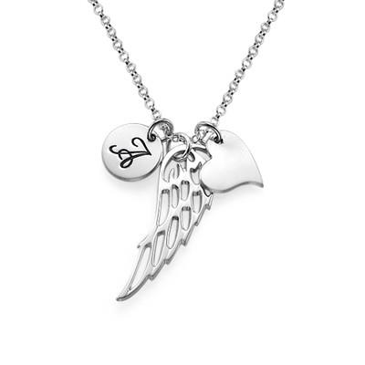 Englevinge smykke med bokstav og hjerte i sølv - 1