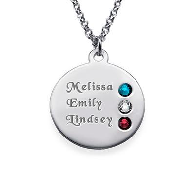 Månedsstein smykke for mor i sølv