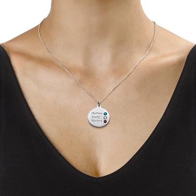 Månedsstein smykke for mor i sølv - 1