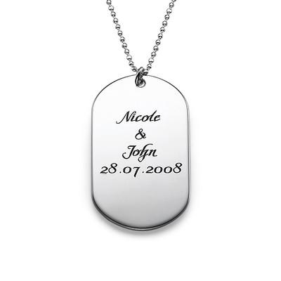 Personlig dog tag smykke i håndskriftstil i sølv