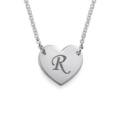 Hjertesmykke med bokstav gravering i sølv