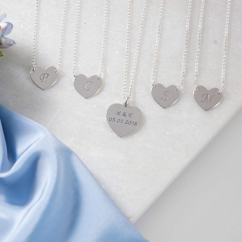 Hjertesmykke med bokstav gravering i sølv - 1