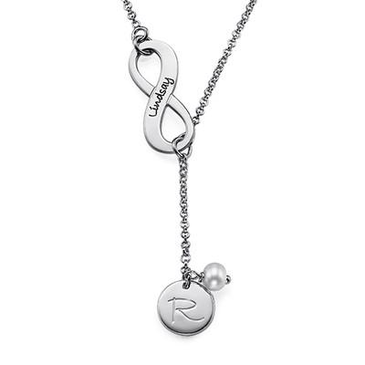 Infinity Y formet Månestein halskjede med initial