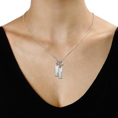 Halssmykke med barnenavn og hengende stein - 1