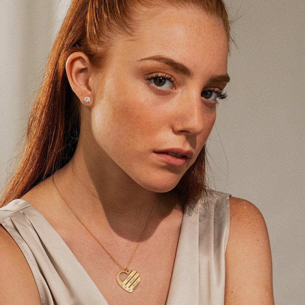 Diamant hjertesmykke med inngraverte navn i 18k gullbelegg - 2