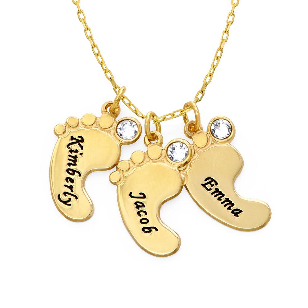 Mammasmykke – halskjede med flere babyføtter i 10K gult gull - 1