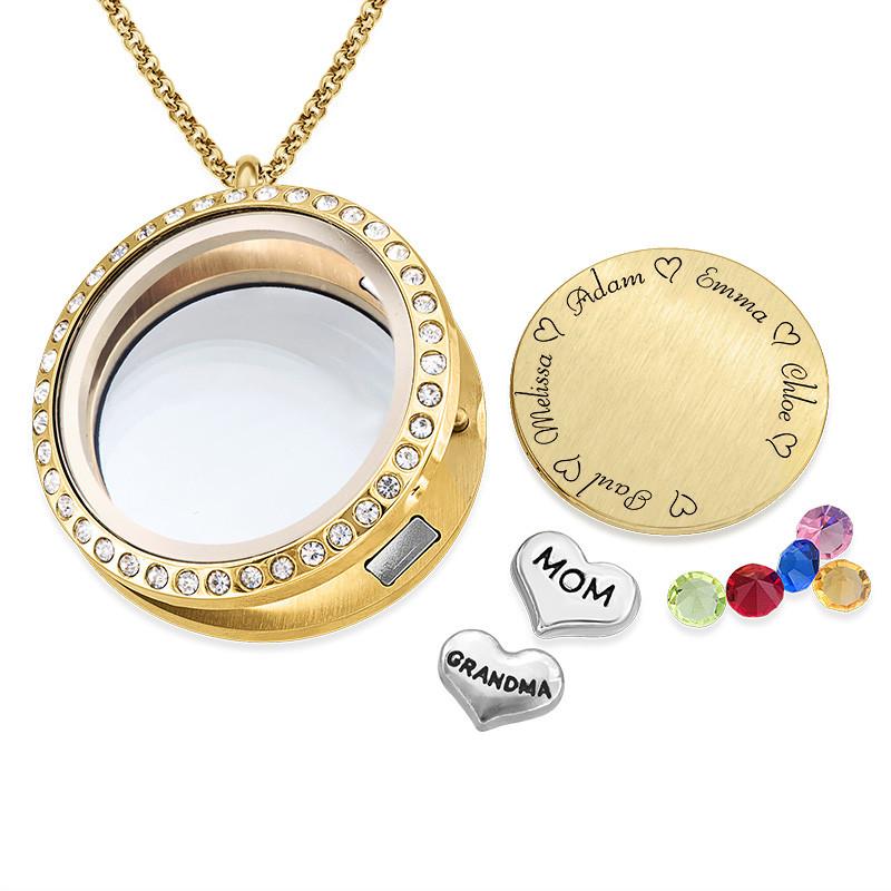 """Medaljong med navn - """"Til Mor eller Bestemor"""" i 18k gullforgyldt - 1"""