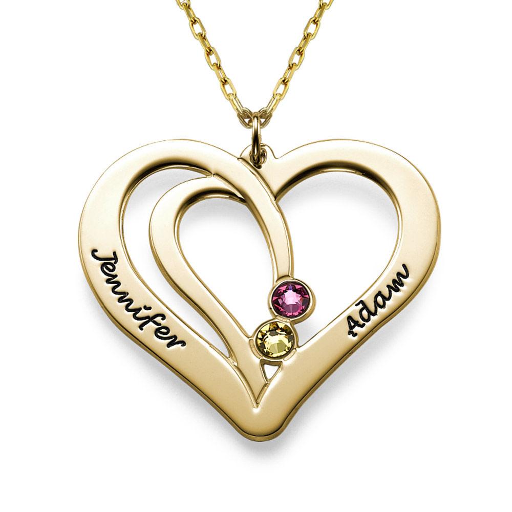 Gravert par-smykke med månedsstein i 10k gull