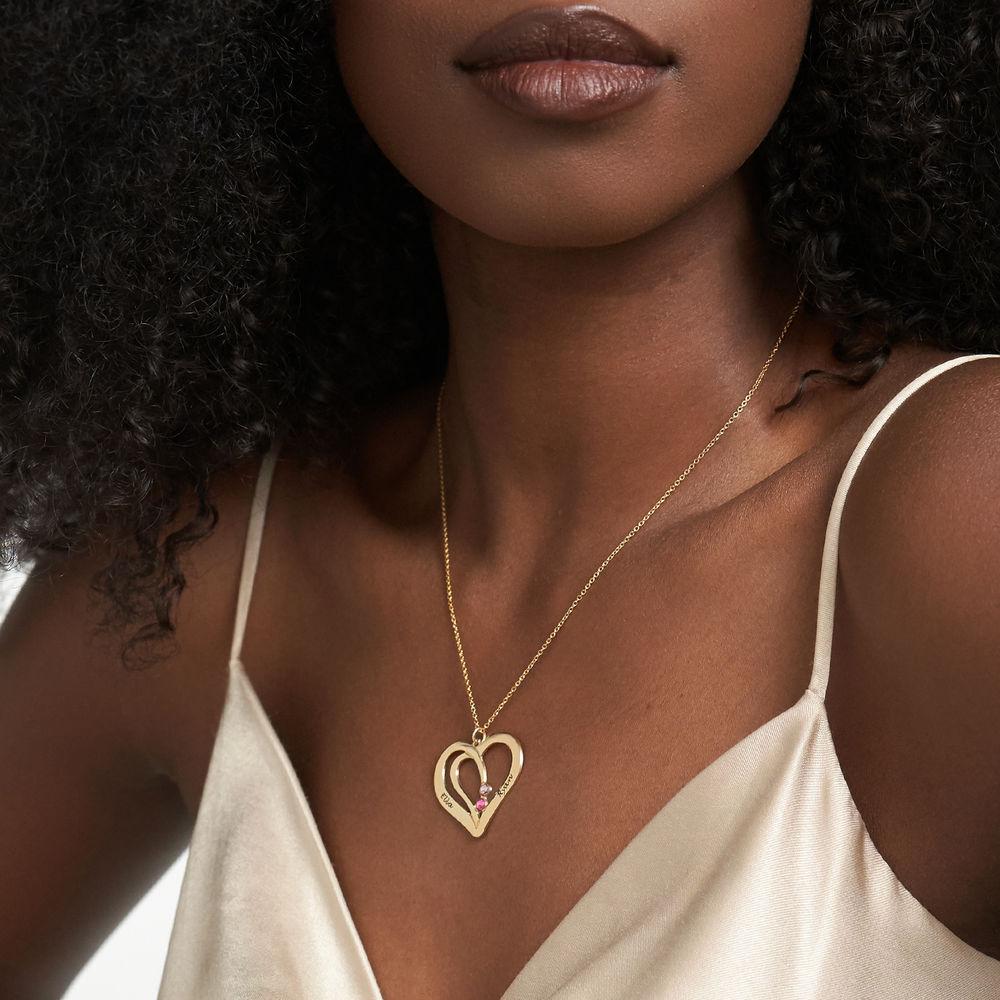 Gravert hjertesmykke med månedssteiner i gull vermeil - 2