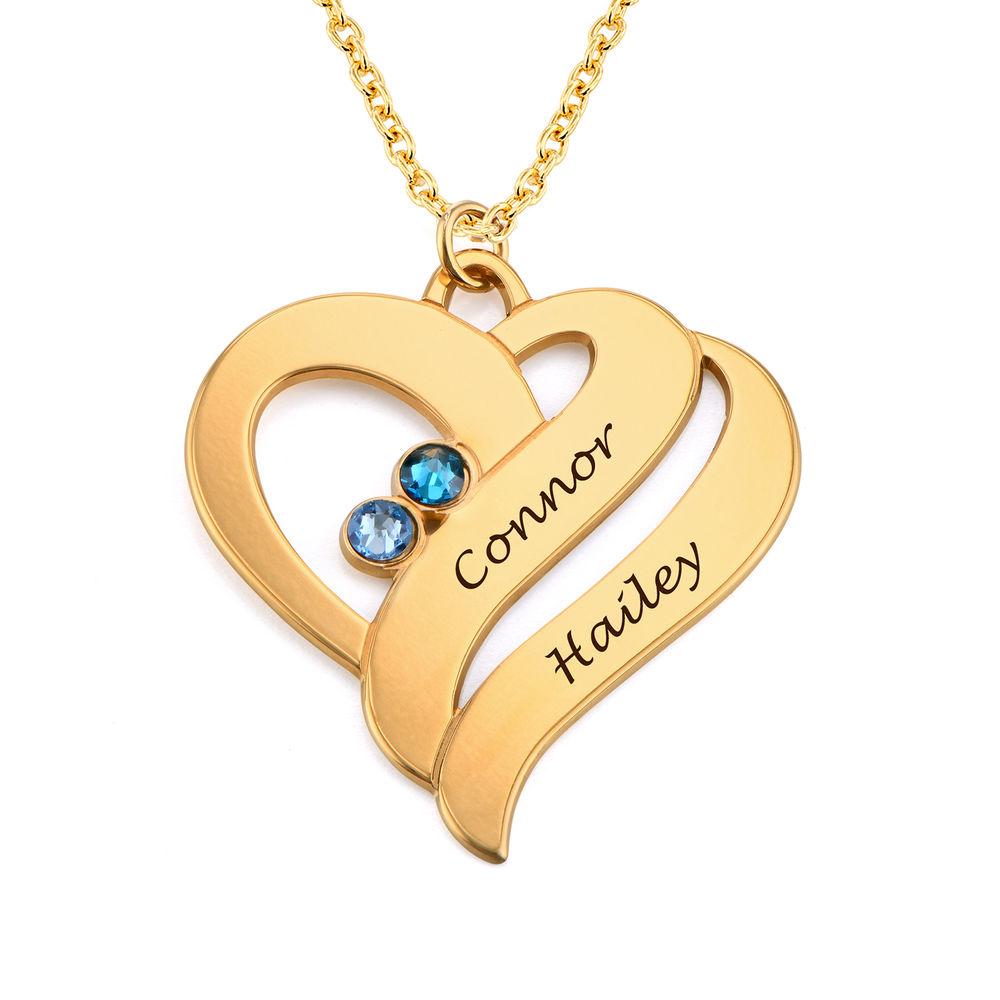 To hjerter for alltid ett-smykke i gull vermeil