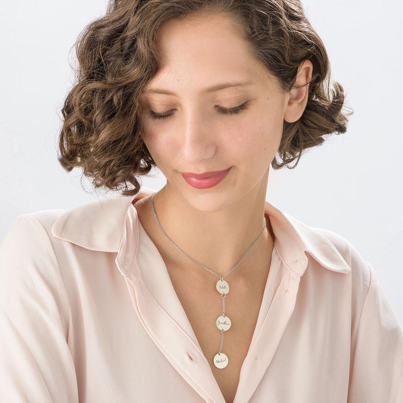 Personlig Y-formet smykke med plater i sterlingsølv - 2