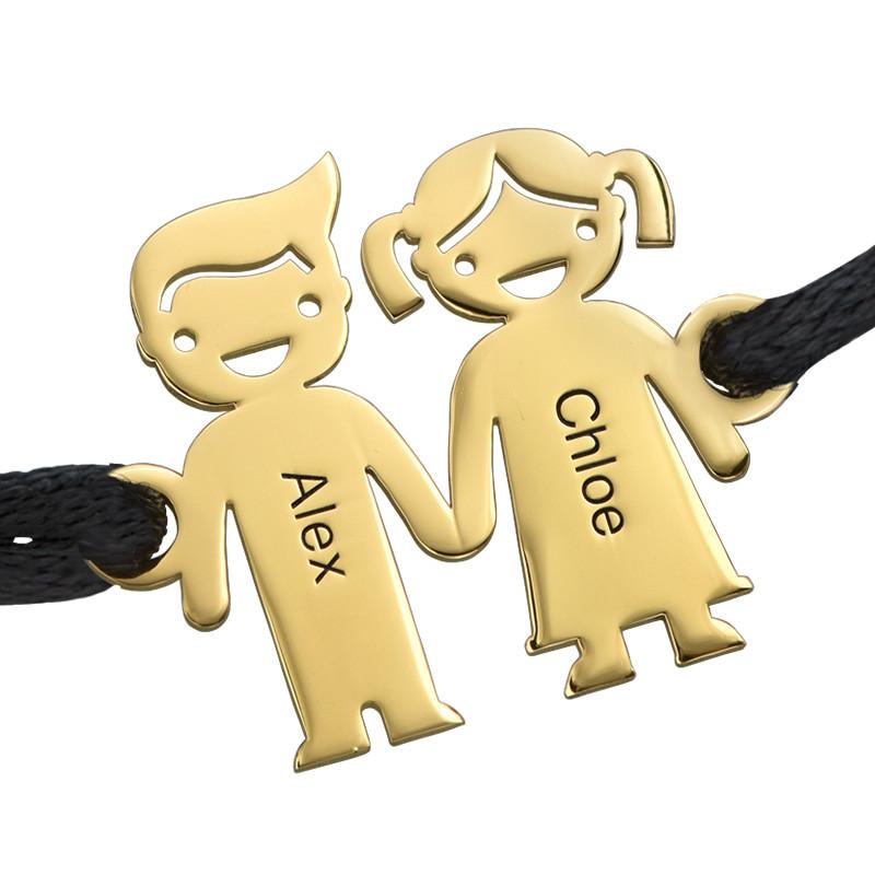 Armbånd med barn hånd i hånd gullforgyldt - 1