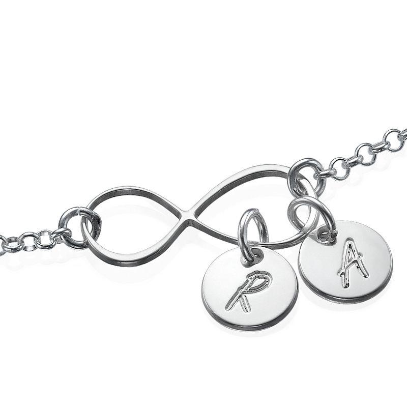 Infinity-armbånd / ankelbånd med bokstav i sølv - 1