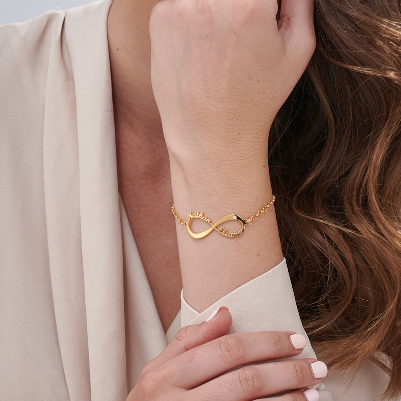 Personlig gullbelagt infinity armbånd med navn og diamant - 2