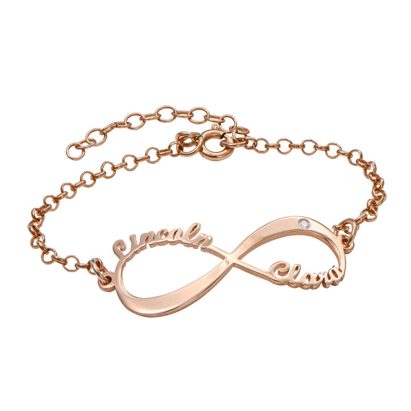 Personlig rosegullbelagt infinity armbånd med diamant