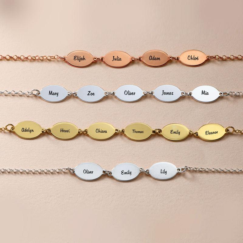 Gullbelagt mamma armbånd med barns navn - Ovalt design - 3