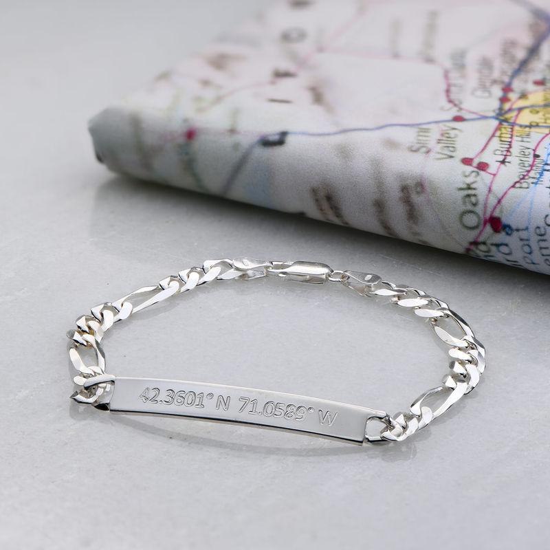 Herre armbånd med koordinater i sølv - 2