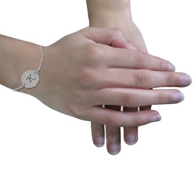 Armbånd med bokstav gravering i sølv - 2