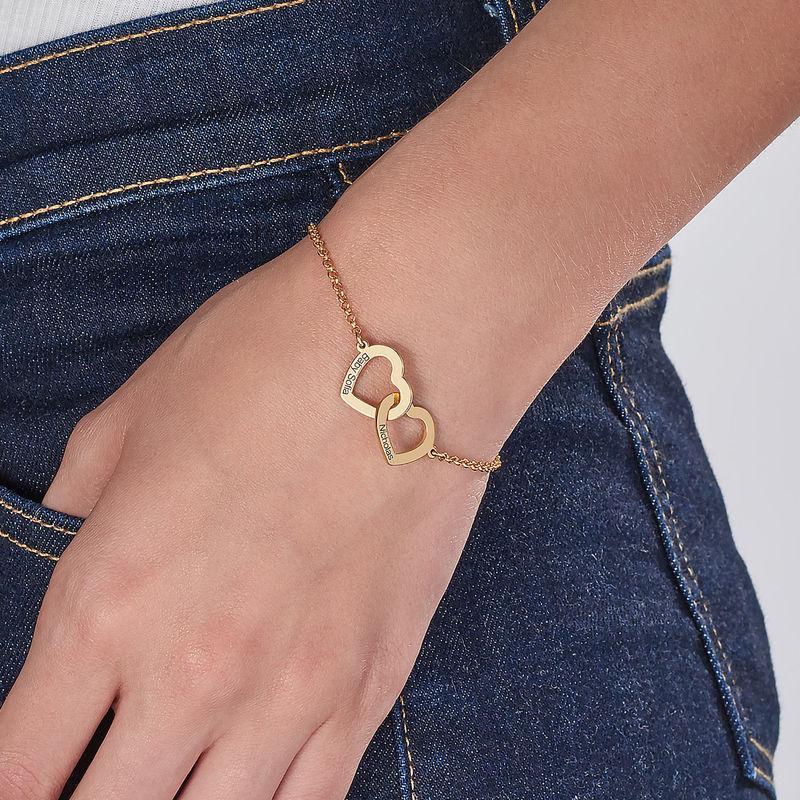 Sammenflettet hjerte armbånd i gull vermeil - 2