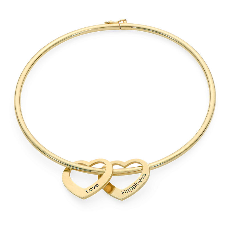 Bangle-armbånd med hjerteformede charms i 18k gullbelegg - 1