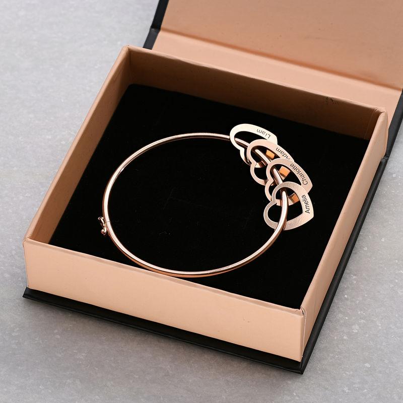Bangle-armbånd med hjerteformede charms i 18k rosegullbelegg - 5