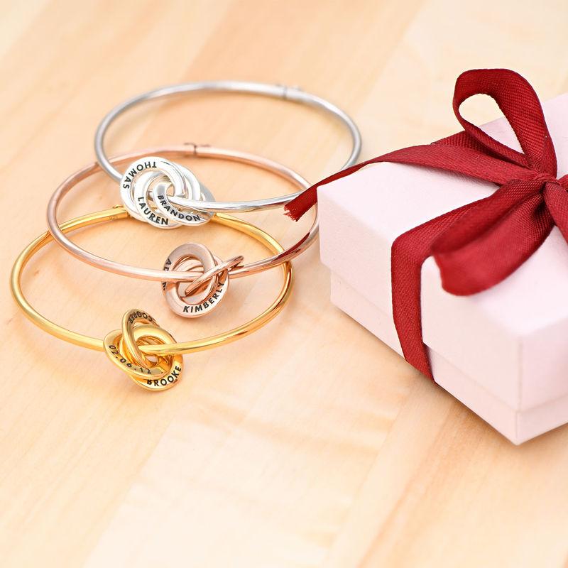 Russisk bangle-armbånd med runde charms i 18k gullbelegg - 1