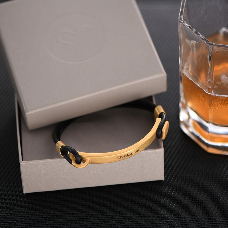 Personlig tilpasset gummi armbånd med gravert gullbelagt plate - 2