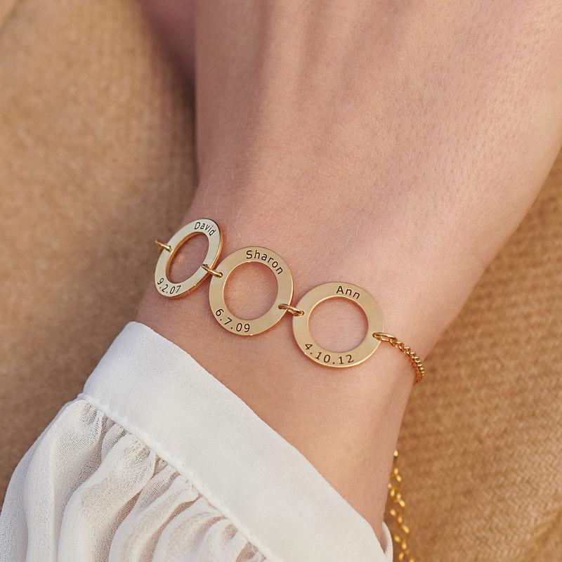 Graveret armbånd med 3 sirkel anheng i gullforgylt - 3