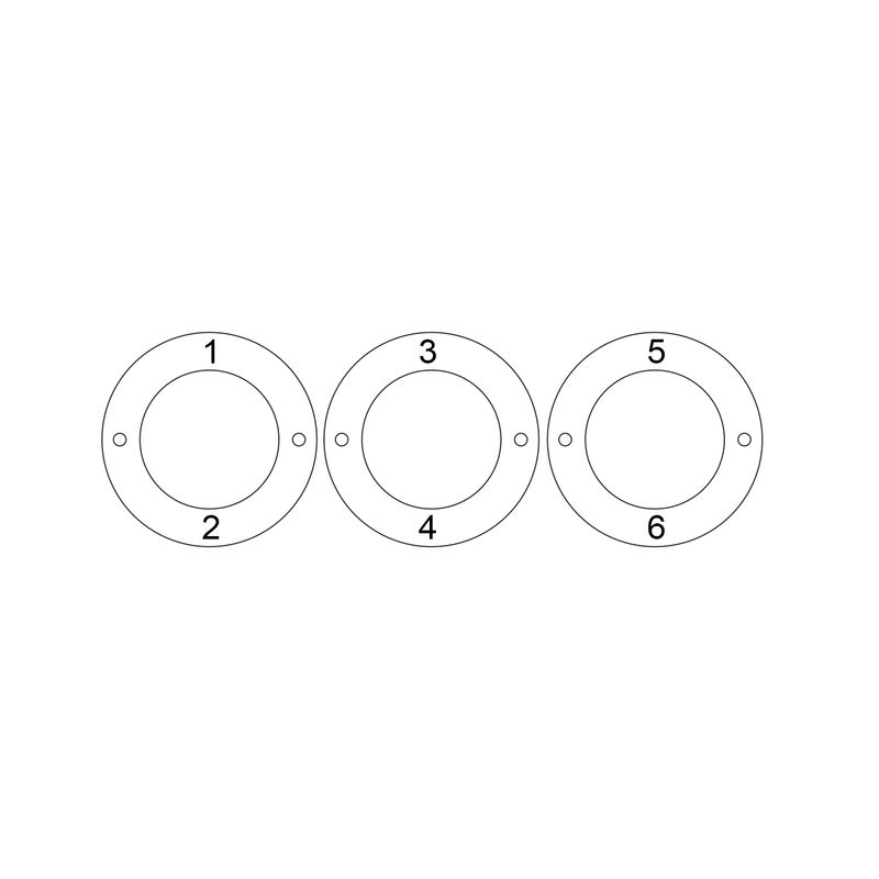 Graveret armbånd med 3 sirkel anheng i gullforgylt - 4