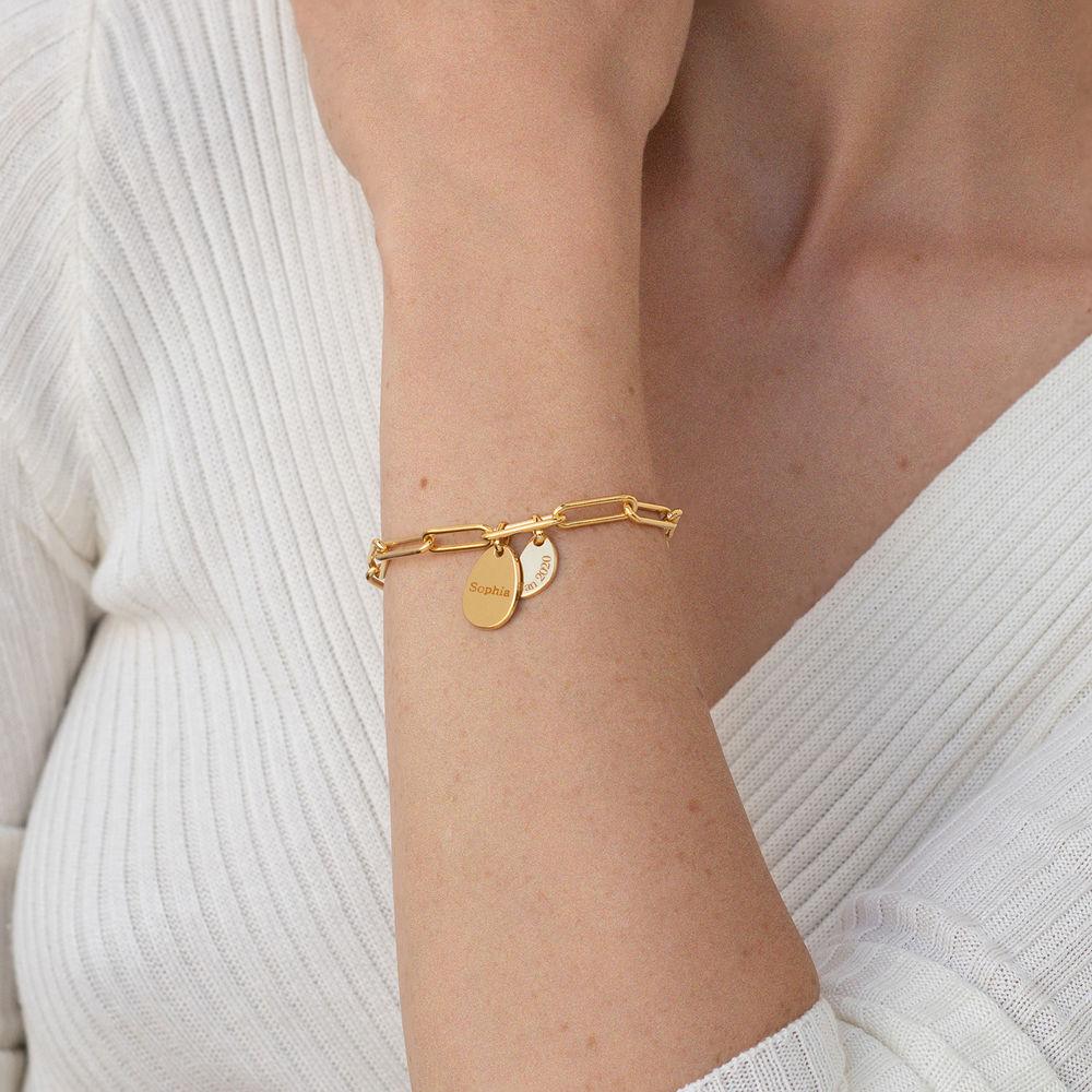 Lenkearmbånd med store og små graverbare charms i gull vermeil - 2