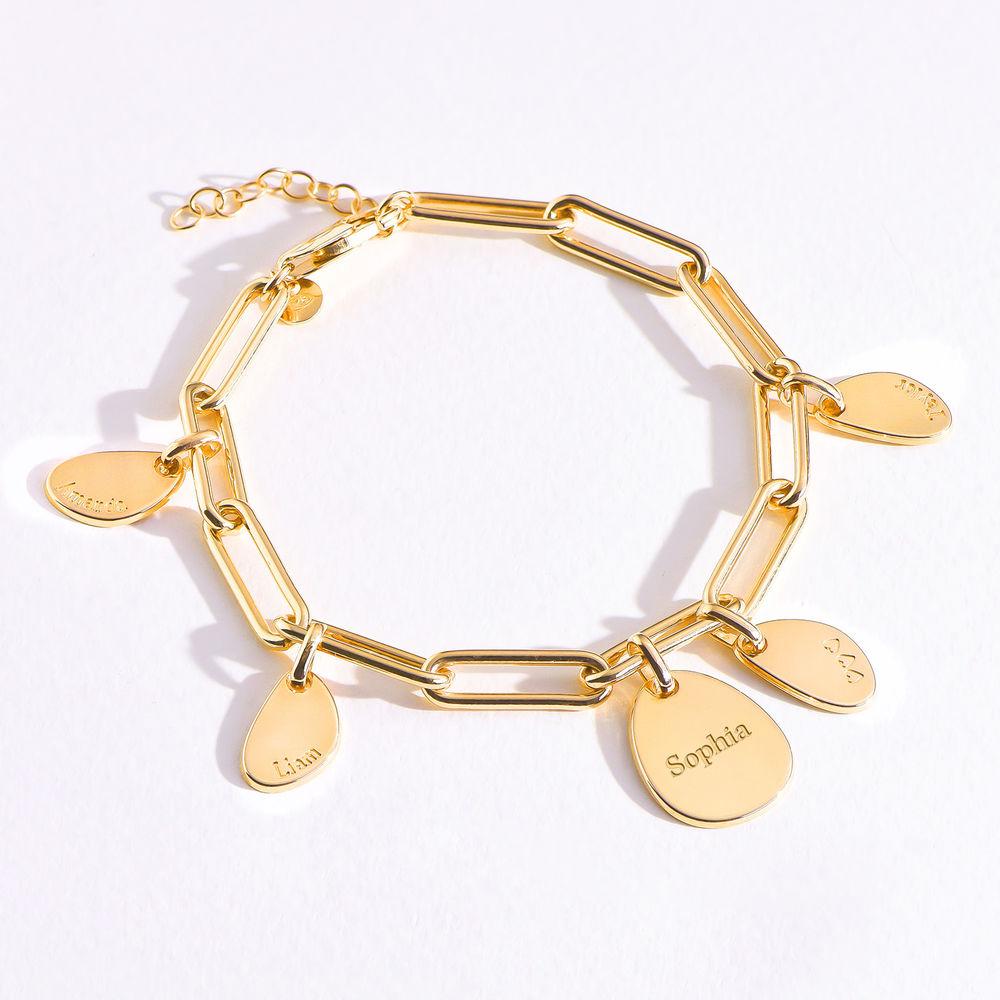 Lenkearmbånd med store og små graverbare charms i gull vermeil - 4