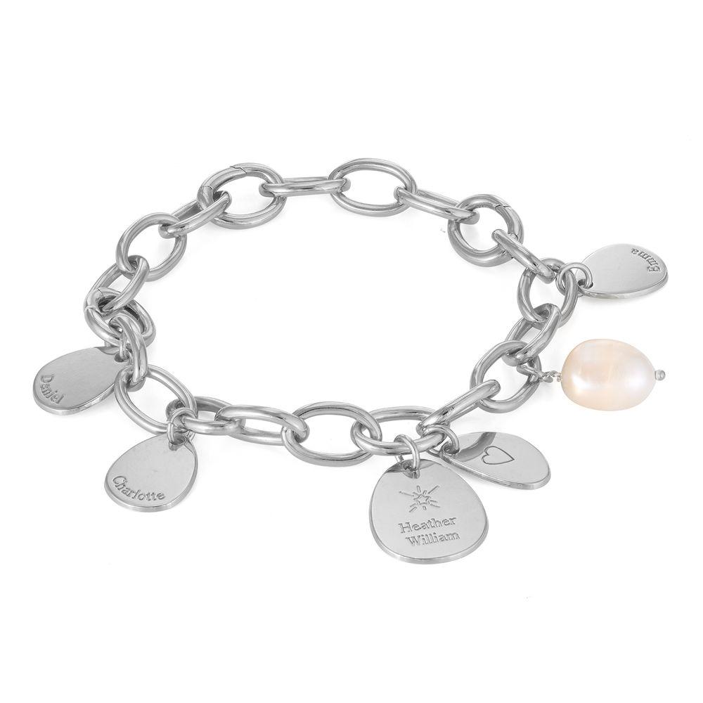 Layla personlig lenkearmbånd med graverte charms i sterling sølv