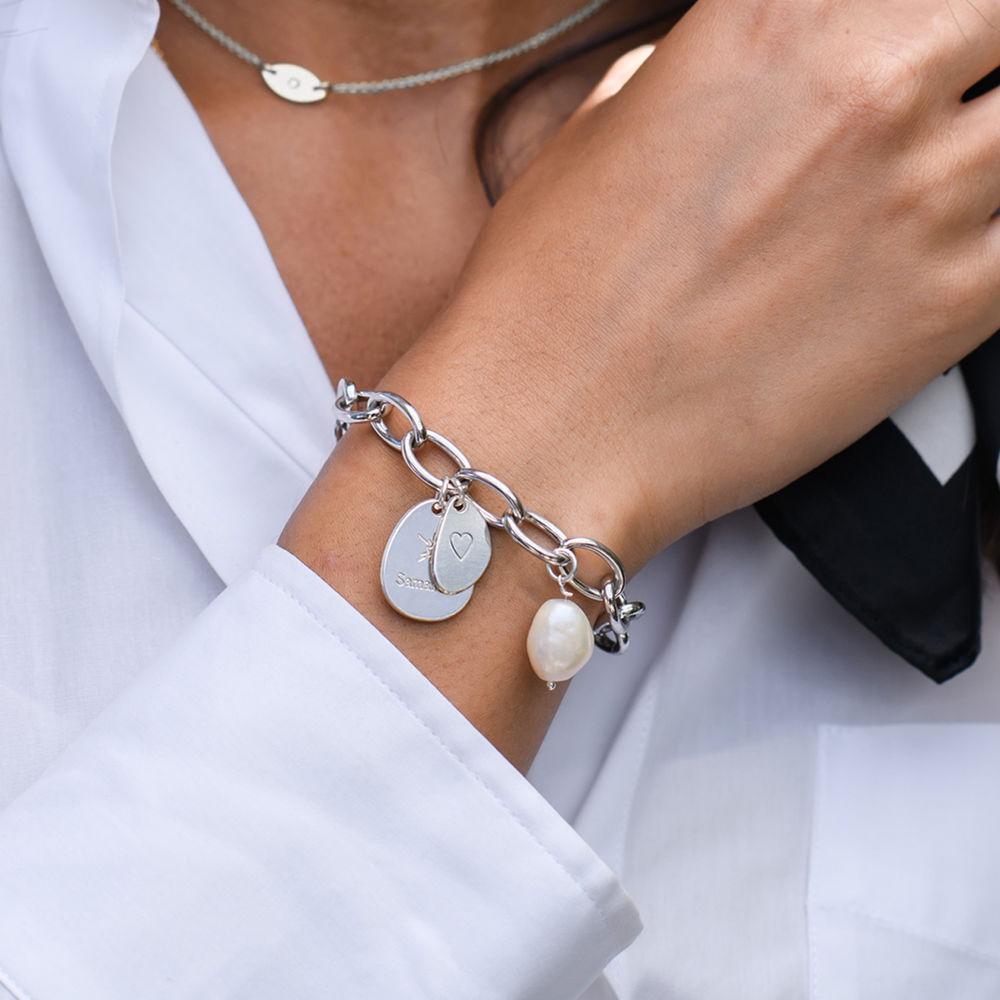 Layla personlig lenkearmbånd med graverte charms i sterling sølv - 2