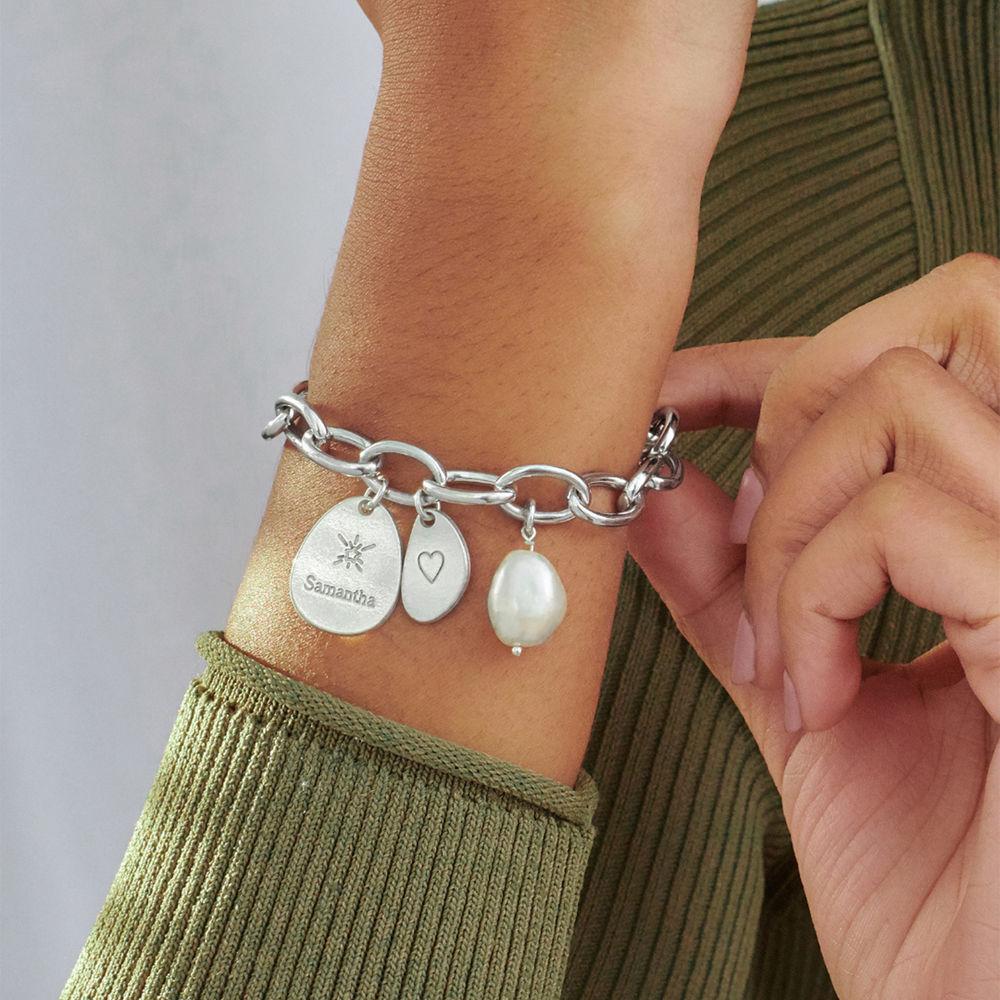 Layla personlig lenkearmbånd med graverte charms i sterling sølv - 3