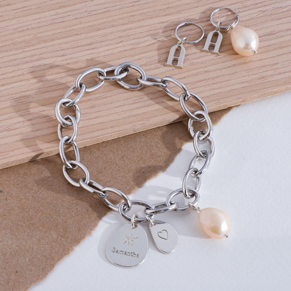 Layla personlig lenkearmbånd med graverte charms i sterling sølv - 4