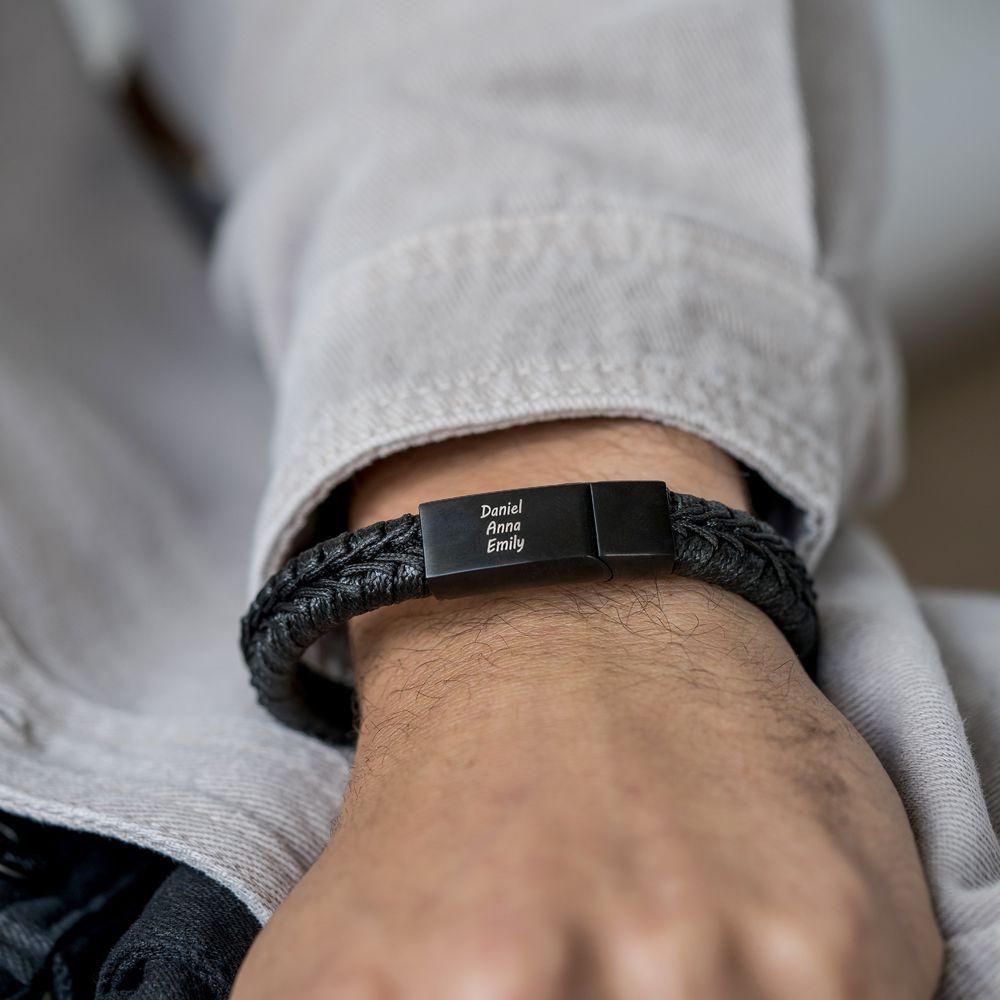 Menn flatt armbånd i svart skinn - 2