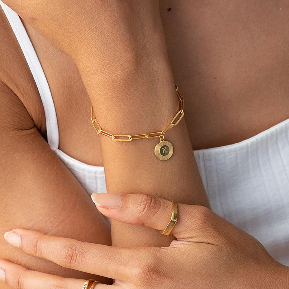 Odeion lenke armbånd/ankelkjede med initial i 18k gullforgylt sølv - 1