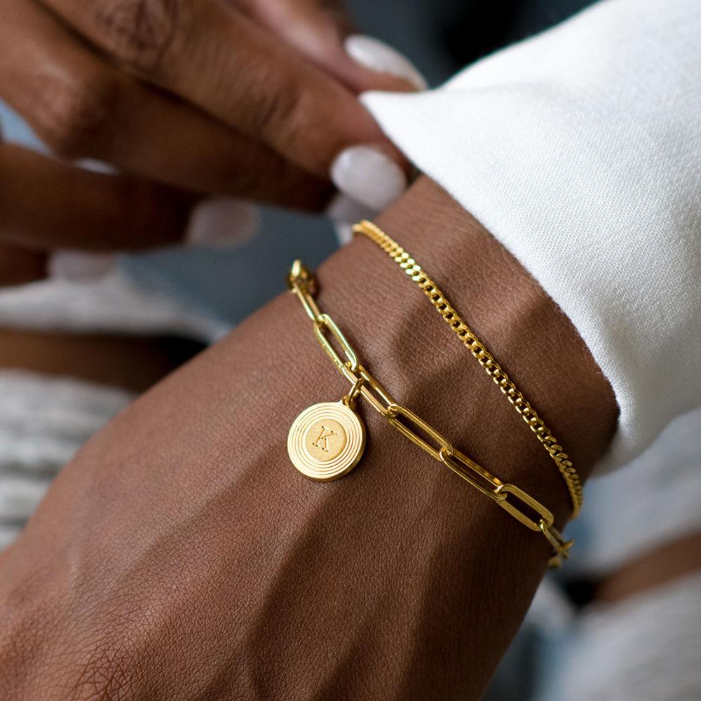 Odeion lenke armbånd/ankelkjede med initial i 18k gullforgylt sølv - 4