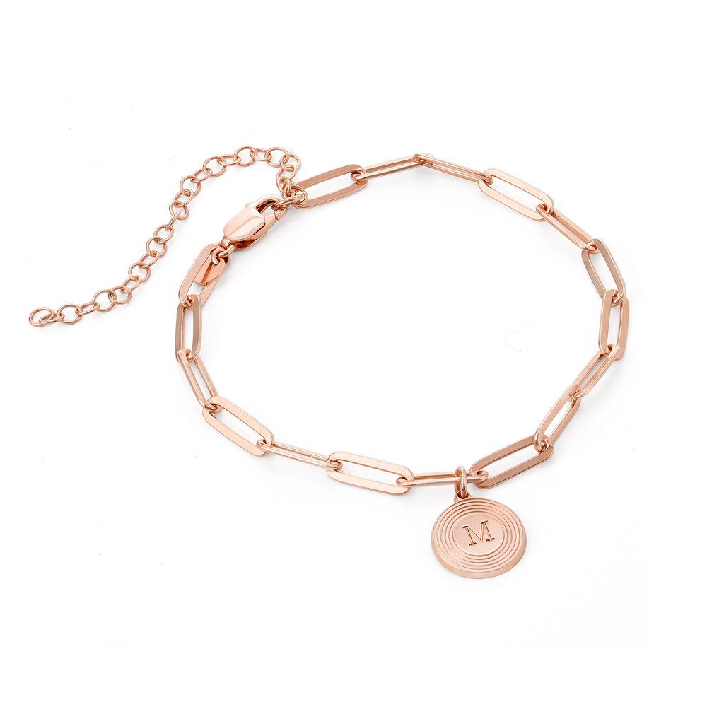 Odeion lenke armbånd/ankelkjede med initial i 18k rosegullforgylt sølv