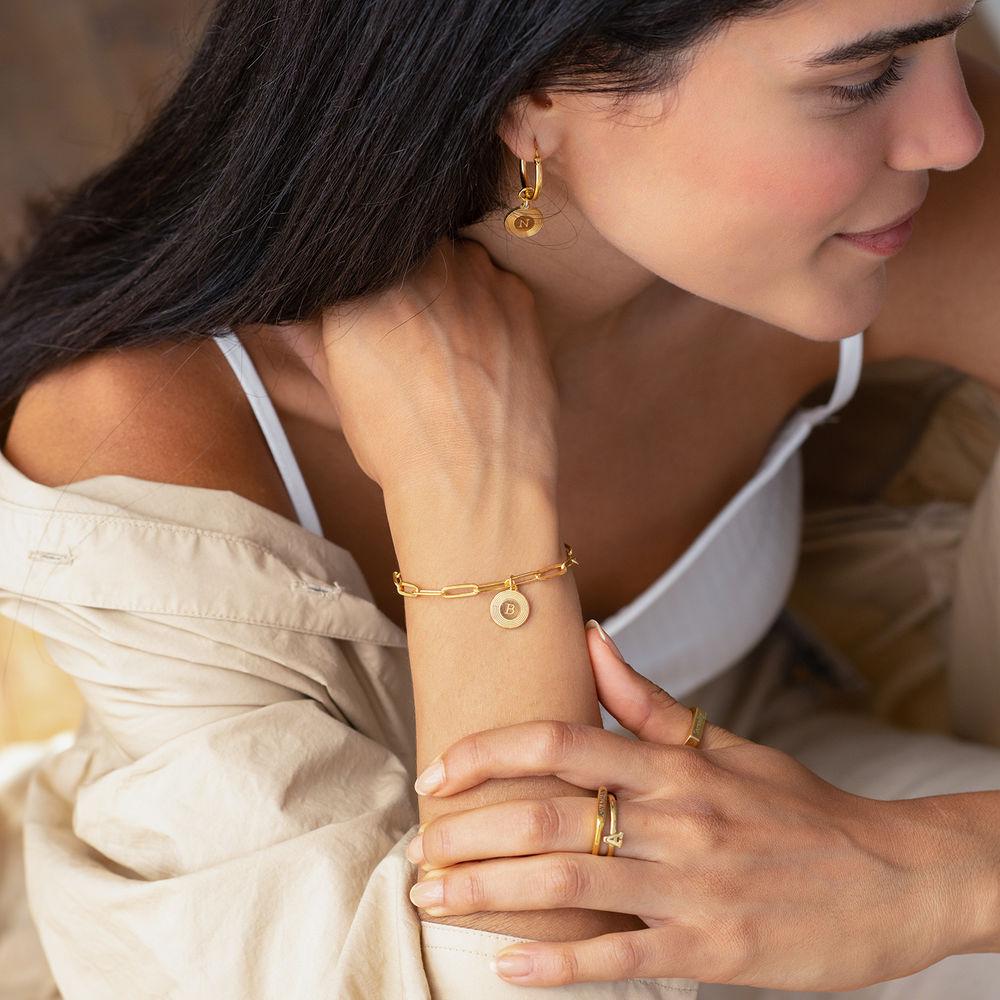Odeion lenke armbånd/ankelkjede med initial i 18k vermeil forgylt sølv - 1