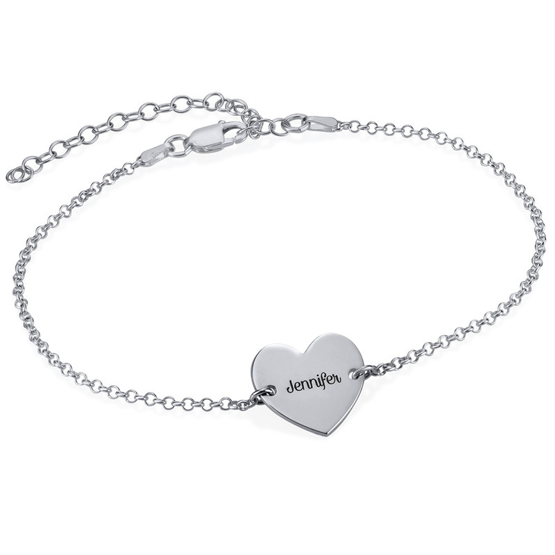 Ankelkjede med hjerte i sølv