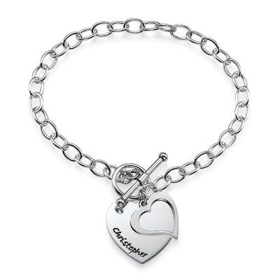 Dobbelt hjertearmbånd i sølv