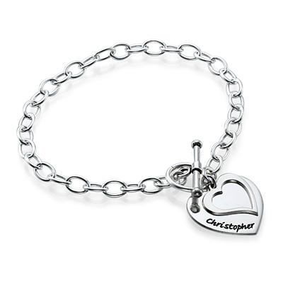 Dobbelt hjertearmbånd i sølv - 1